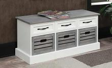 Westminster collection weathered grey and white finish wood ottoman boot bench with drawers