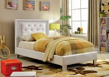 Furniture of america CM7217WH Lianne collection white padded and tufted leatherette twin bed set with crystal like acrylic button tufting