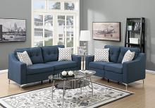 Poundex F6893 2 pc Sampson navy linen like fabric sofa and love seat set