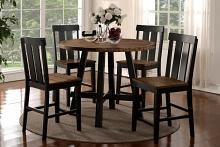 Poundex F2324-1572 5 pc bridget i collection two tone antiqued oak and black finish wood round counter height dining table set