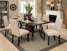 Furniture of america CM3323T-7PC 7 pc Kaitlin collection walnut finish wood industrial style dining table set