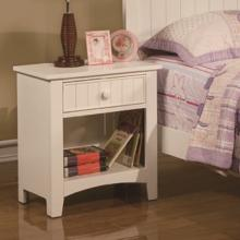 White finish wood nightstand end table with one drawer