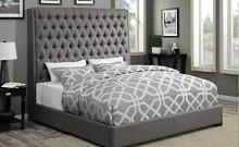 300621Q Rosdorf park brianne camille grey fabric tufted queen bed set