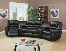 Poundex F6747 5 pc Breese collette black bonded leather theater sectional sofa with recliners