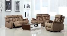 Global United 9760BEI-2PC 2 pc Parsons II beige bella fabric sofa and love seat with recliner ends