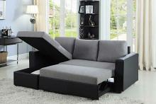 503929 2 pc Everly grey fabric / black vinyl sleeper sectional sofa reversible chaise