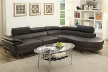 2 pc Madison collection black faux leather upholstered sectional sofa set with rounded chaise