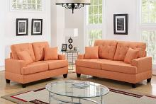 2 pc Collette II collection citrus linen like fabric upholstered sofa and love seat set
