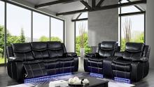 CM6567 2 pc Sirius black breathable leatherette power motion sofa and love seat with recliner ends