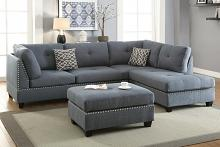Poundex F6975 3 pc martinique collection blue grey linen like fabric upholstered sectional sofa with reversible chaise and ottoman