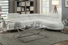 Poundex F6985 2 pc Madison collection white faux leather upholstered sectional sofa set with rounded chaise
