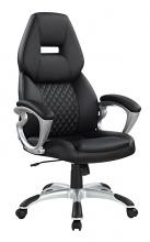 801296 Auburn designs auburndale diamond pattern back black faux leather office chair with casters