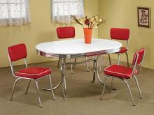 5 pc oval shaped retro chrome finish dining table set with red cushioned seats