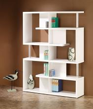 800310 Alternating shelves design room divider white finish wood modern styling slim line bookcase shelf unit