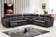 Global United 9408BR-3PC 3 pc Quincy brown leather gel upholstered sectional sofa with recliners