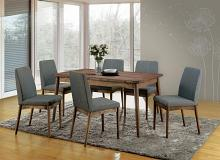 CM3371T-7PC 7 pc eindride mid century modern style natural tone finish wood dining table set