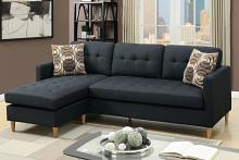 2 pc leta collection black polyfiber fabric upholstered apartment size sectional sofa with reversible chaise
