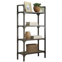 Acme 92327 Gorden weathered oak finish antique silver multi tier book case shelf unit