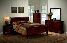 5 pc Louis Phillipe III collection contemporary style cherry finish wood sleigh queen bedroom set