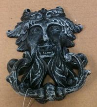Cast iron antique blue greek god face