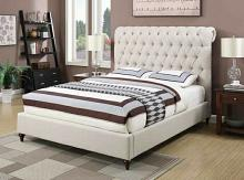 Devon collection beige fabric tufted upholstered contemporary style queen bed