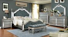 5 pc Azha collection silver finish wood with mirror accents upholstered queen bedroom set