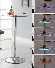 122400 Glass top color changing led bar table with chrome base