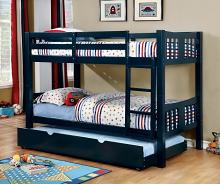 Cameron collection transitional style twin over twin blue finish wood bunk bed set