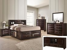 B4265 4 pc A & J Homes studios emily dark cherry wood finish design headboard queen bedroom set with storage drawers