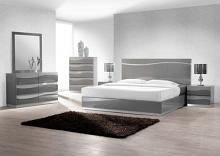 5 pc leon collection modern style queen bedroom set with gray lacquer finish