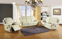 Global United 9392BEI-2PC 2 pc Parsons II collection beige leather aire upholstered sofa and love seat with console with recliner ends