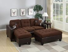 Poundex F6928 2 pc Nealy daryl 2 tone chocolate microfiber fabric reversible sectional sofa set chaise and ottoman