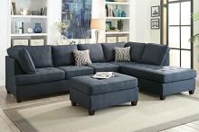 Poundex F6989 2 pc A&J homes studio naomi dark blue dorris fabric sectional sofa reversible chaise