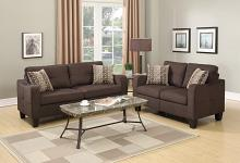 Poundex F6923 2 pc collette II chocolate linen like fabric sofa and love seat set