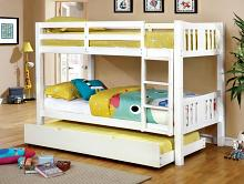 CM-BK929WH Cameron transitional style twin over twin white finish wood bunk bed set