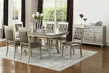 Poundex F2430-1705 7 pc silverstry silver tone finish wood dining table set with glass top
