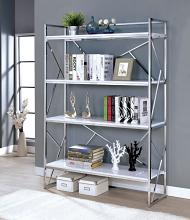 CM-AC6049 Gustav chrome metal and white 4 tier bookcase shelf unit