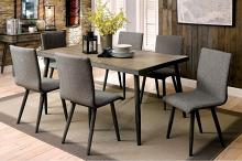 CM3360T-7PC 7 pc Brayden studio bryce vilhelm i mid century modern style gray finish wood dining table set
