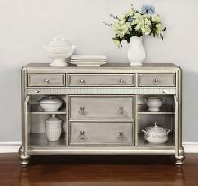 Danette collection metallic platinum finish wood side server dining buffet console table