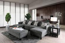 CM6363-5PC 5 pc Latitude run bax lowry gray chenille fabric sectional and ottoman