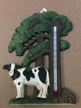Cast iron cow and tree thermometer wall hanger