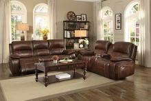2 pc Mahala collection brown top grain leather match upholstered power reclining sofa and love seat set