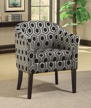 Espresso finish wood frame barrel shaped accent side chair with sleek hexagon pattern upholstery