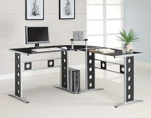 800228 Ebern designs sengsone silver finish metal frame with black tempered glass top corner computer desk