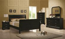 5 pc  louis philippe black wood finish queen sleigh panel bedroom set