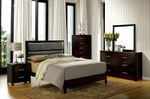5 pc Janine collection contemporary style espresso finish wood padded queen bedroom set