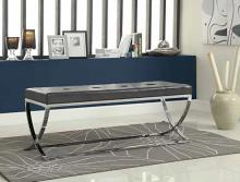 501156 Black leather like vinyl upholstered rectangular ottoman with chrome finish metal frame