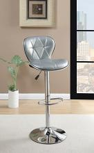 Poundex F1623 Set of 2 kossini contemporary style silver diamond pattern faux leather adjustable swivel bar stool