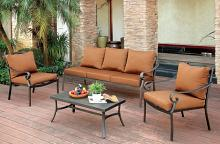 4 pc bonquesha i collection transitional style out door distressed black finish metal sofa and chair set