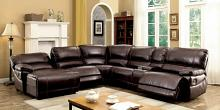 CM6131BR 6 pc estrella brown breathable leatherette sectional sofa with recliners on the ends